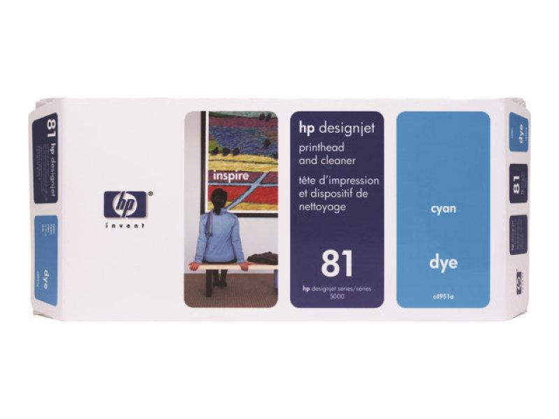 HP 81 Cyan Printhead and Cleaner - C4951A