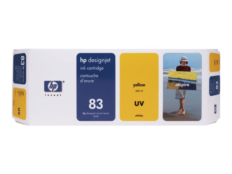 HP 83 Yellow UV 680ml Ink Cartridge - C4943A