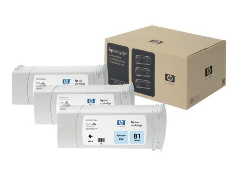 HP 81 Multi-pack 3x Light Cyan OriginalInk Cartridge - Standard Yield 680ml - C5070A