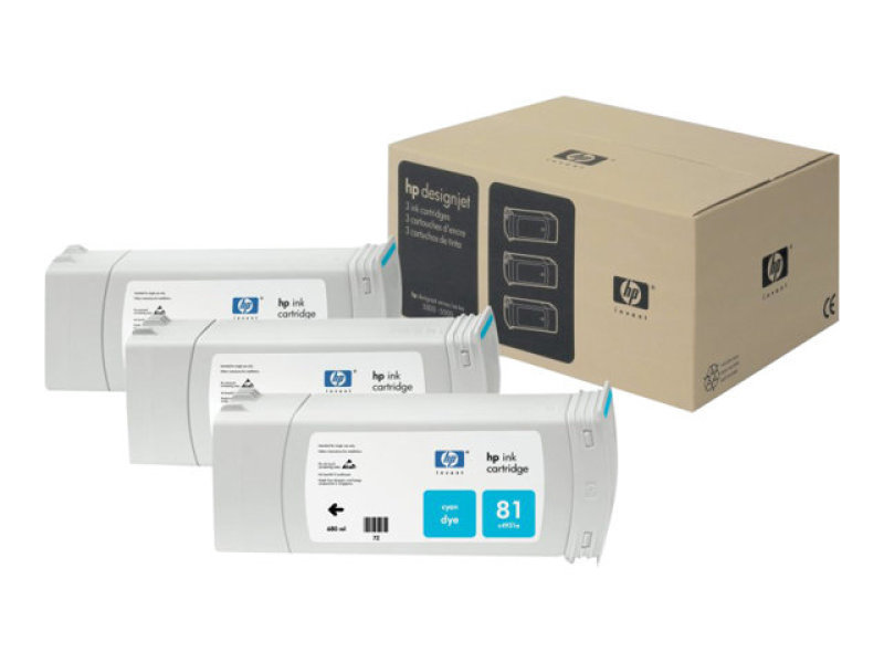 HP 81 Cyan Ink Cartridge - 3 Pack - C5067A