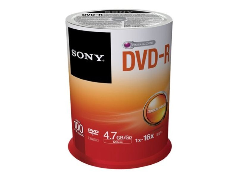Sony 16x DVD-R Discs - 100 Pack Spindle