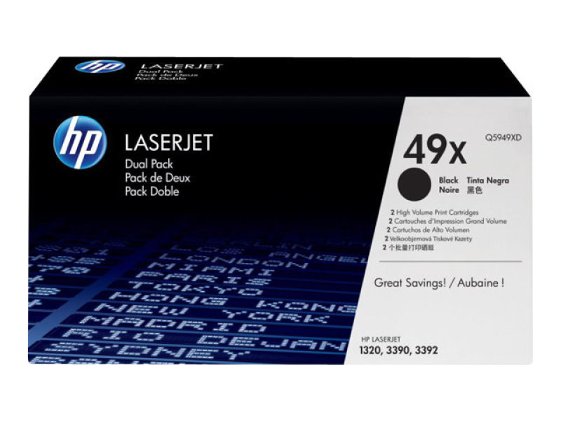 HP 49X Black Dual Pack Toner Cartridge - Q5949XD
