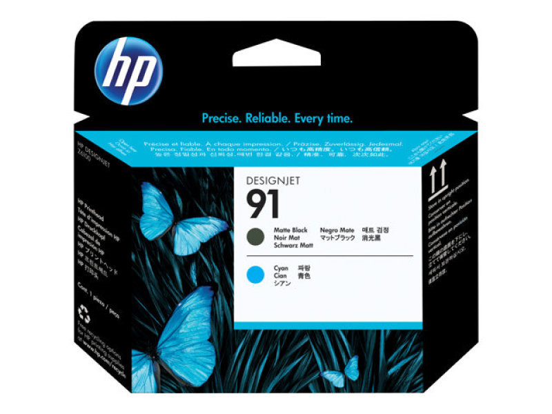 HP 91 Cyan and Matte Black Printhead