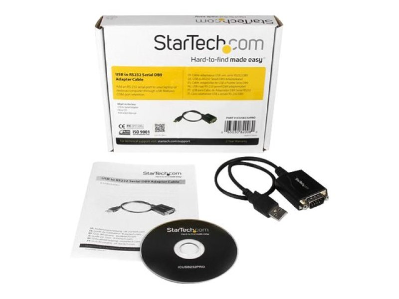 StarTech.com 1 ft USB to RS232 Serial DB9 Adapter Cable with COM Retention - USB to DB9 - USB to Serial Port Adapter