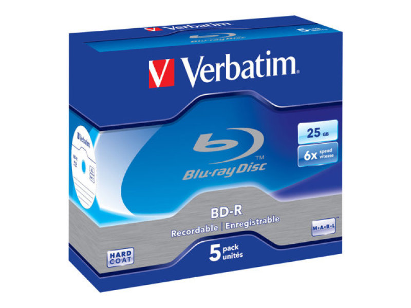 Verbatim 6x BD-R 25gb Blu-Ray Discs - 5 Pack Jewel Case