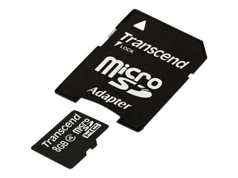 Transcend 8GB Micro SDHC Class 4 Flash Card with Adaptor