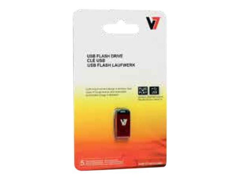 32GB V7 USB 2.0 Nano Flash Drive (Red)