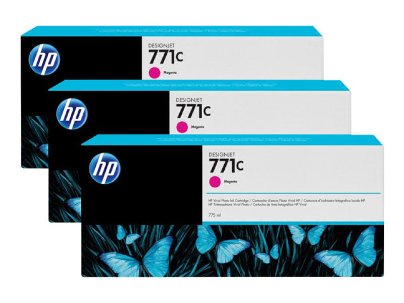 HP 711C Magenta Original, Multi-pack Ink Cartridge - Standard Yield 3 x 775ml - B6Y33A