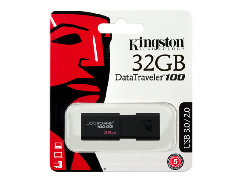 Kingston DataTraveler 32GB Datatraveler 100G3 USB 3.0 Flash Drive Black