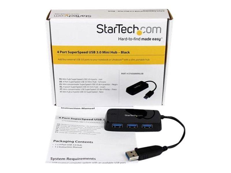 StarTech.com Portable 4 Port SuperSpeed Mini USB 3.0 Hub - Black