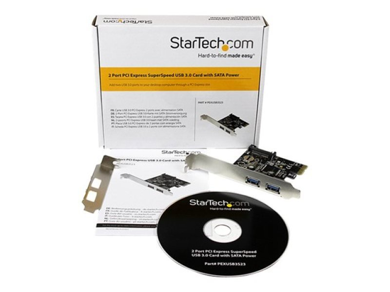 StarTech.com 2 Port PCI Express PCIe USB 3.0 Controller Card w SATA Power