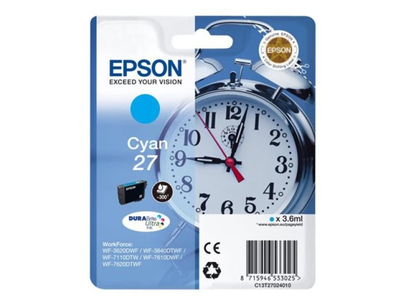 *Epson Singlepack Cyan 27 DURABrite Ultra Ink Cartridge