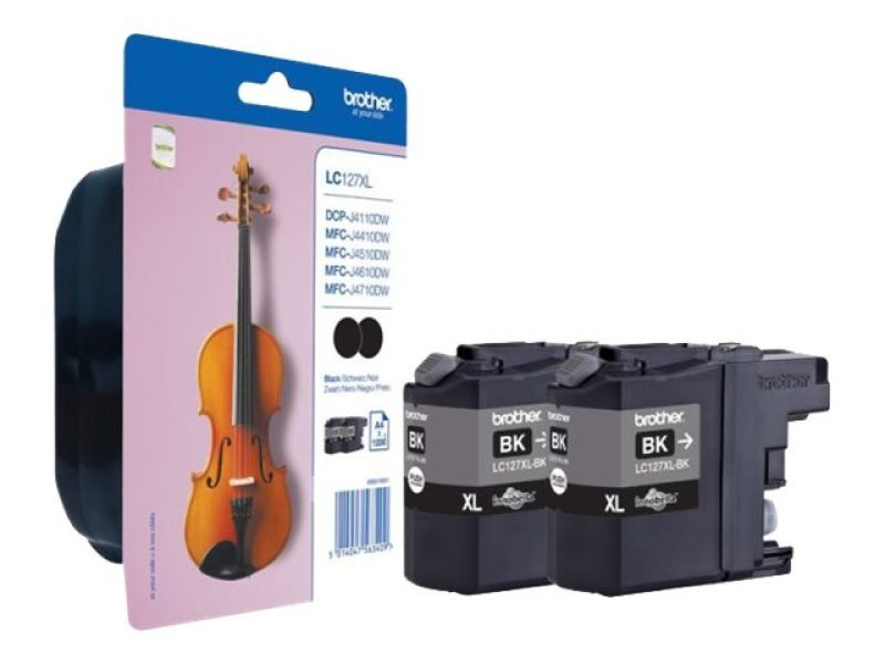 Brother LC127XLBK High Cap Black Ink Cartridge Twin Pack