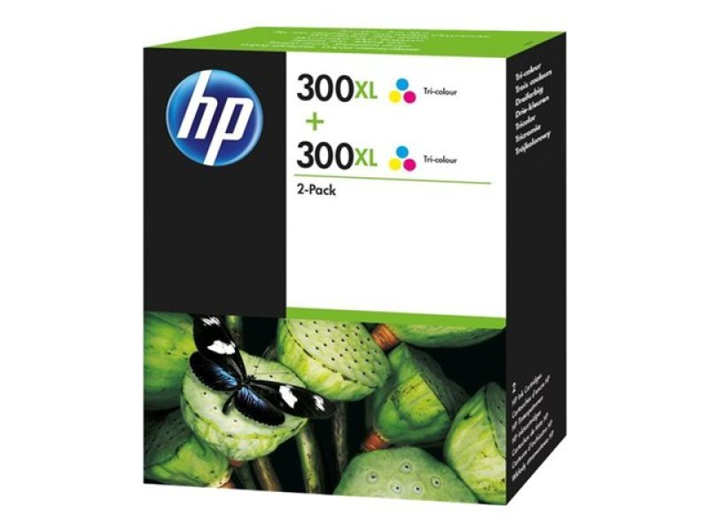 HP 300XL Tri Colour Ink cartridge - Twin Pack - D8J44AE