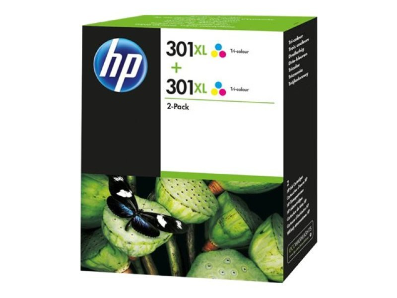 HP 301XL Tri-Colour Ink Cartridge - Twin Pack - D8J46AE