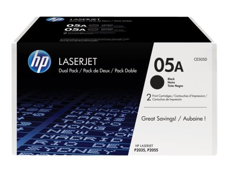 HP 05A Black Toner Cartridge - Dual Pack - CE505D