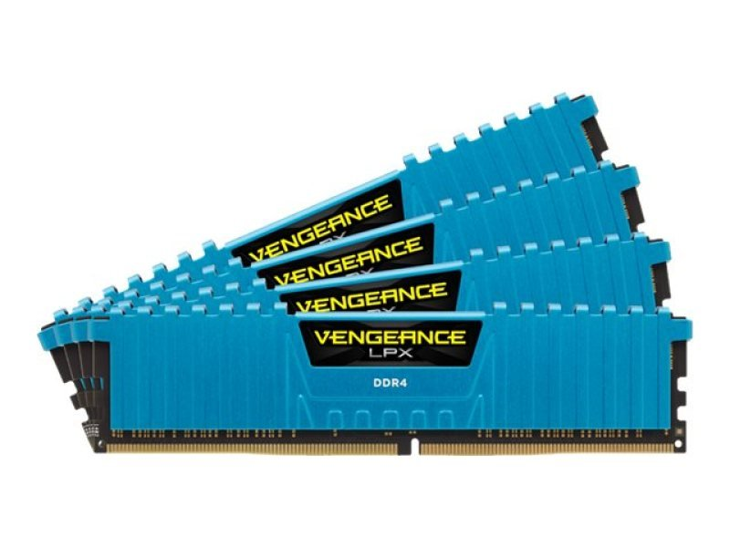 Corsair DDR4 2800MHz 16GB (4 x 4GB Kit) 288 DIMM Unbuffered 16-18-18-36 Vengeance LPX Blue Heat spreader 1.20V
