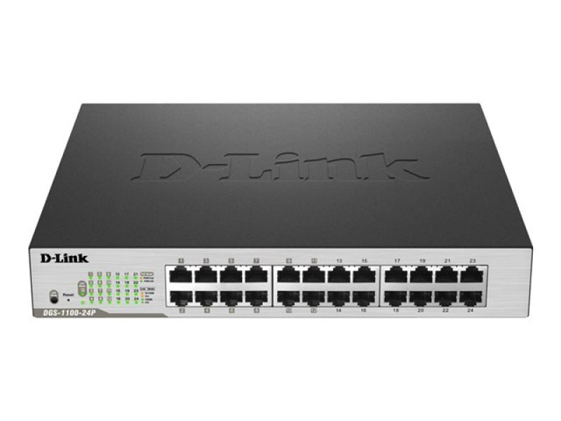 D-Link DGS-1100-24P 24-Port Gigabit PoE Smart Switch (12 x PoE/fan)