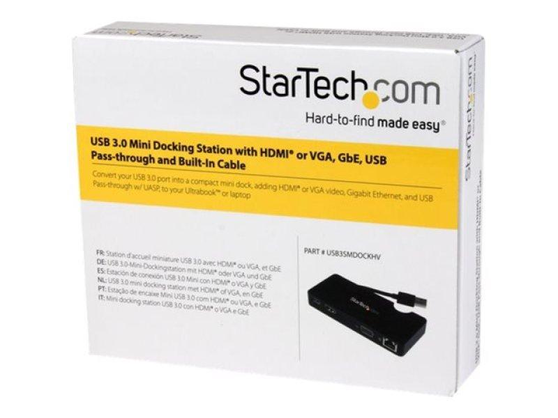 StarTech com Universal USB 3 0 Laptop Mini Docking Station w/ HDMI or VGA,  Gigabit Ethernet, USB 3 0