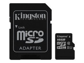 Kingston Technology 16GB microSDHC  UHS-I Memory Card + SD Adapter