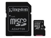Kingston Technology 64GB microSDXC UHS-I Memory Card + SD Adapter