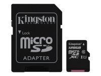 Kingston Technology 128GB microSDXC Class 10 UHS-I 45MB/s Read Card + SD Adapter