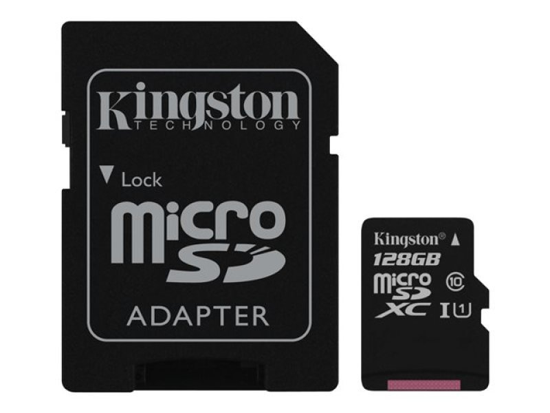 Kingston Technology 128GB microSDXC Class 10 UHS-I 45MB/s Read Card + SD Adapter