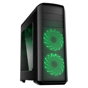 Game Max Volcano Gaming PC Case with Green LED Front Fans