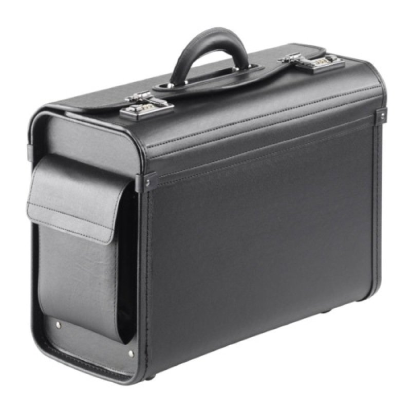 "Image of Falcon Multi-purpose Compact Pilot Case - Black - Luxurious soft synthetic leather - Internal filing separator - For up to 15.6"" Laptops"