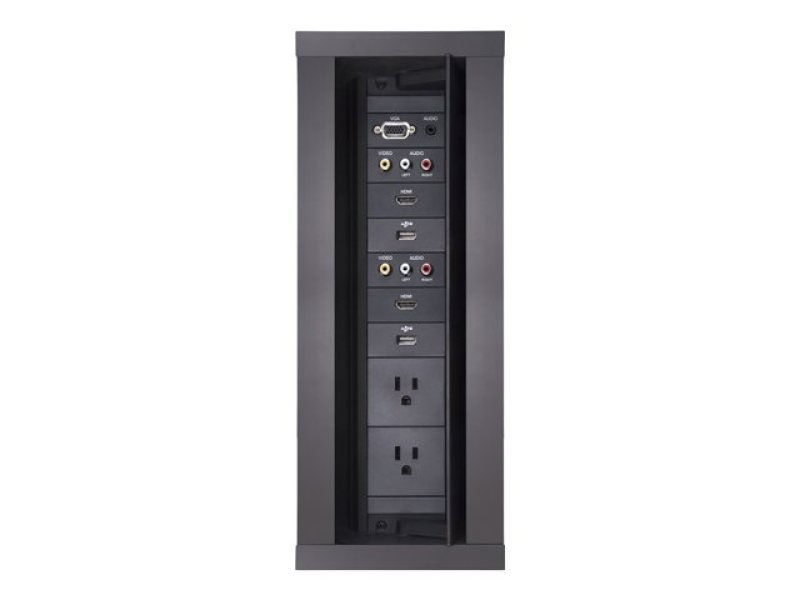 HydraPort 12 Module Connection Port - Black Model - Modular connectivity system accommodates the diverse needs of conference and meeting room visitors. Elegant flush-mount design conveniently opens in both directions