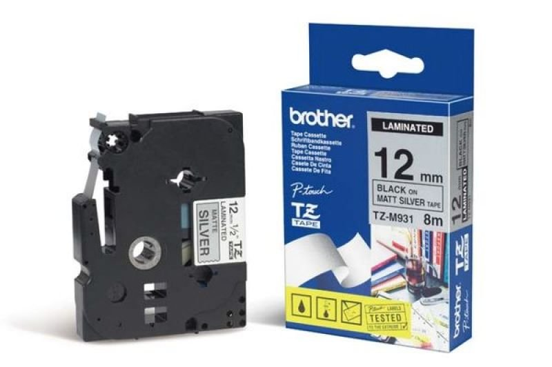 Brother TZe M931 Laminated tape- Black on Silver