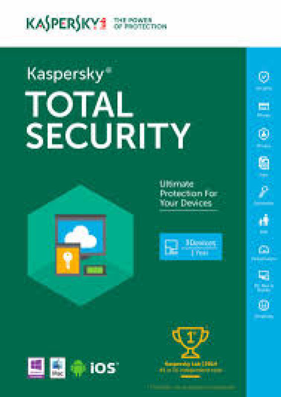 Kaspersky Total Security 2016 3 Device 1 Year FFP packaging