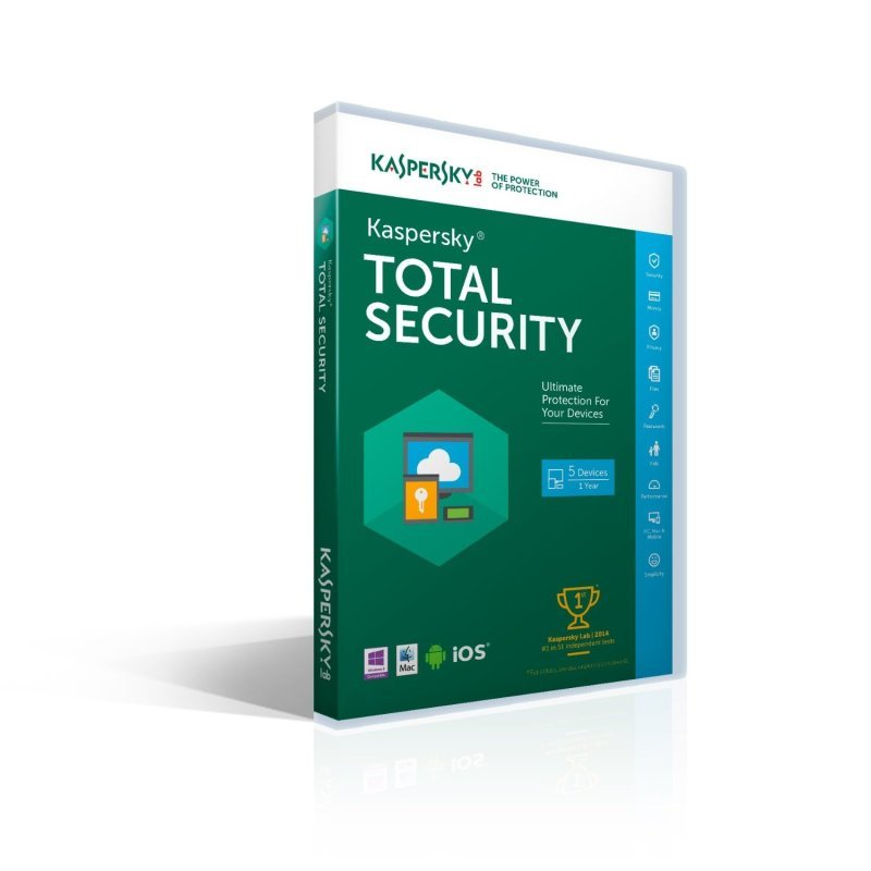 Kaspersky Total Security Multi-device 2016 1 Year 5 Devices DVD FFP Packaging