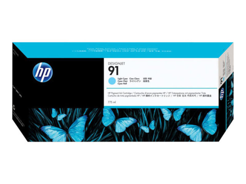 HP 91 775ml Pigmented Light Cyan Ink Cartridge With Vivera Ink
