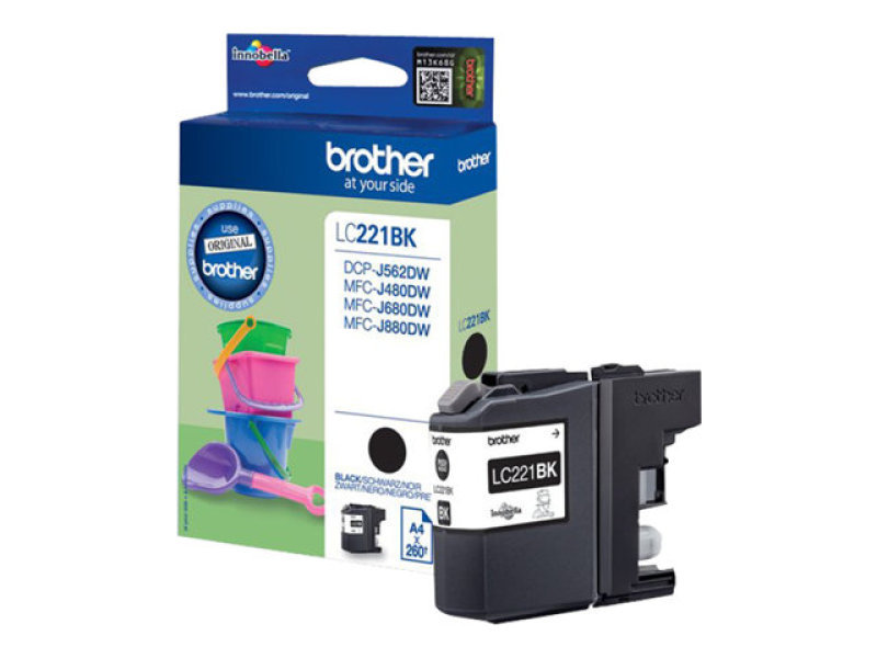 Brother LC221BK Standard Yield Black Ink Cartridge - 260 Pages