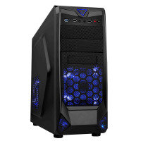 CiT Black Widow Mesh Gaming Case Black/Blue Interior USB3 12cm Blue LED Toolless