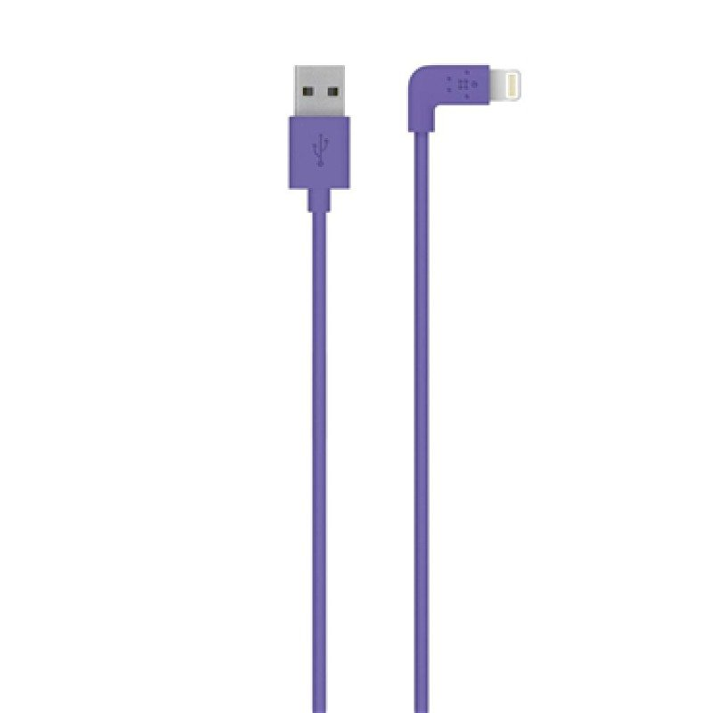 Belkin FLAT 2.4amp Lightning Sync & Charge cable Compatible with Apple iPhone 5iPad miniiPad 4 in Purpleple 1.2m