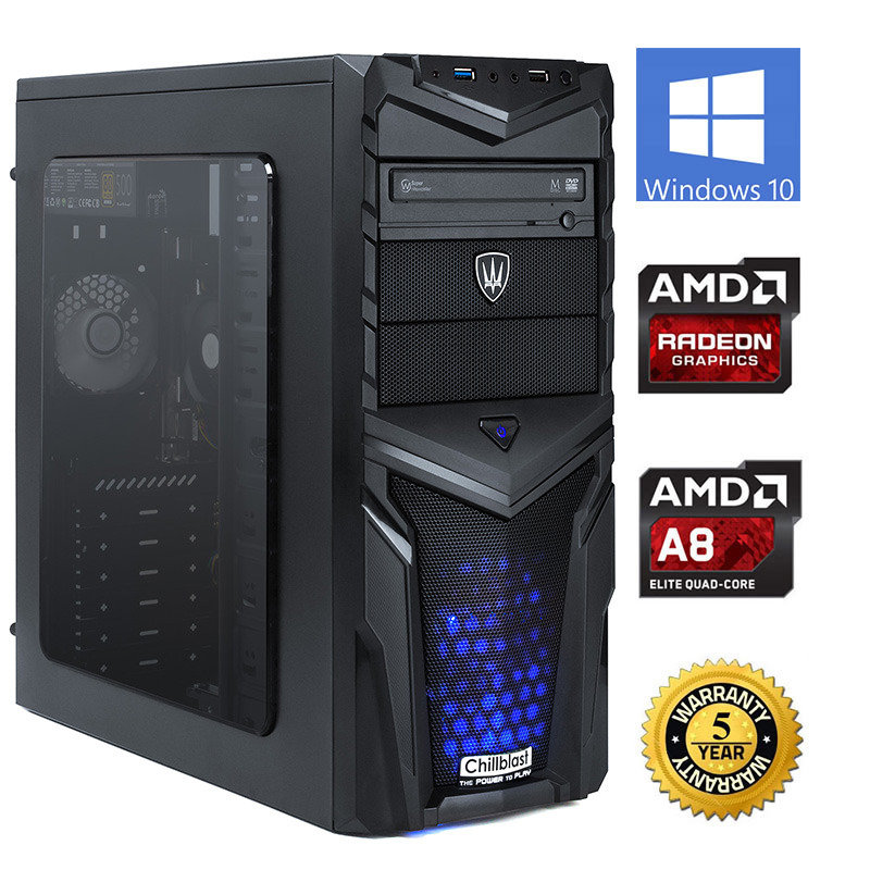 Image of Chillblast Fusion Inferno 2 Gaming PC, AMD A8 7650K 3.9GHz, 8GB RAM, 1TB HDD, DVD-RW, AMD Radeon R7 7650K, 5 Yrs Manufacturer Warranty, Windows 10 64bit