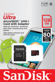 SanDisk Ultra 128GB microSDHC UHS1 Memory Card With Adapter