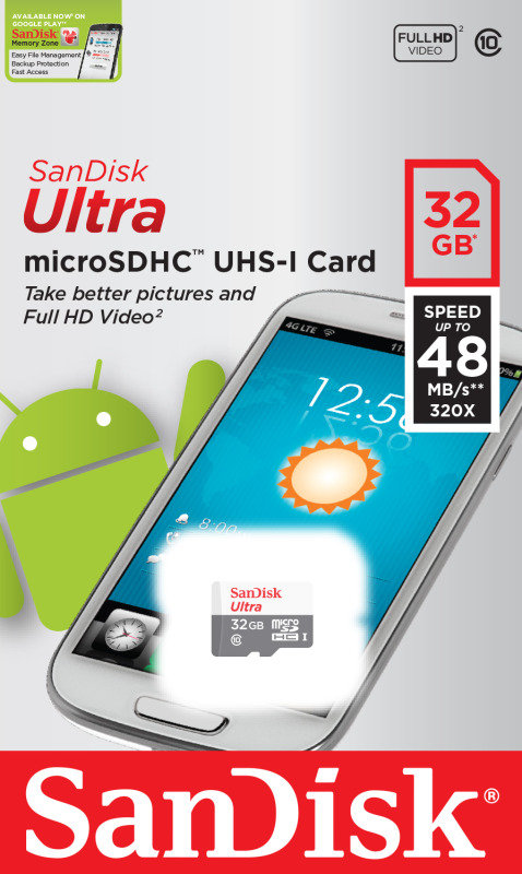 SanDisk Ultra 32GB microSDHC UHS-1 Memory Card