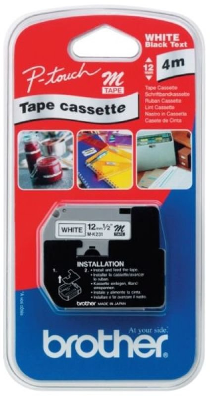 Brother P-Touch Tape - 12mm - Black on White - MK231SBZ