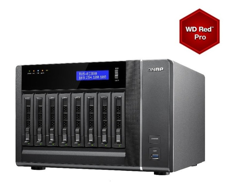 Image of QNAP TVS-EC880-E3-16G 40TB (8x 5TB WD RED PRO) 8 Bay NAS with 16GB RAM