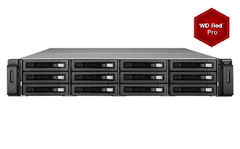 QNAP REXP1220URP 24TB (12 x 2TB WD RED PRO) 12 Bay Rackmount Expansion Unit