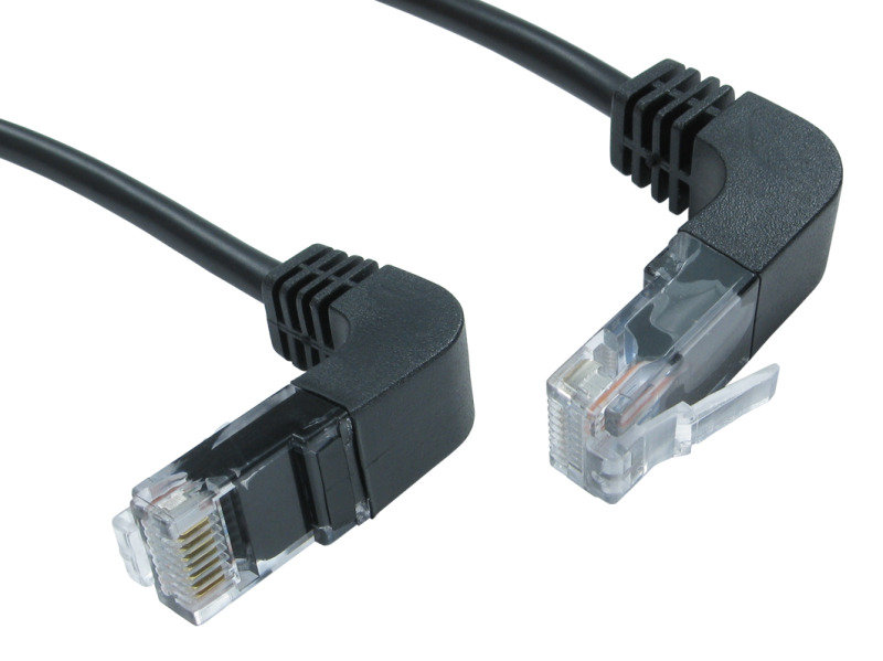 Image of 2mtr CAT 5 E UTP Right Angled Up to Right Angled Down Black
