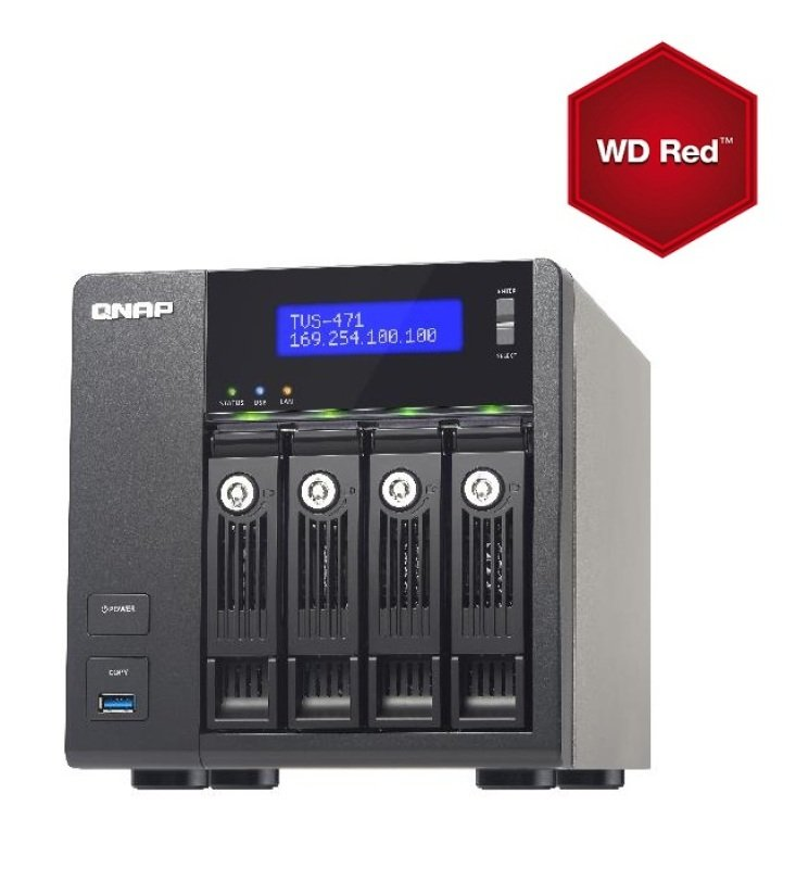 Image of QNAP TVS-471-i3 16TB (4 x 4TB WD Red) 4GB RAM 4 Bay Desktop NAS