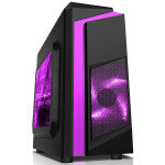 CIT F3 Black Midi Case With 12cm Purple LED Fan & Purple Stripe