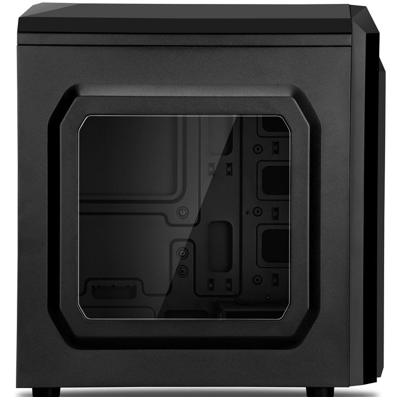 CIT F3 Black Midi Case With 12cm Red LED Fan & Red Stripe