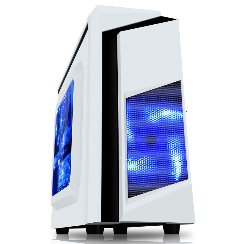 CIT F3 Black Midi Case With 12cm White LED Fan & White Stripe