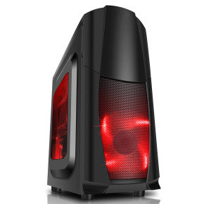 CIT Dragon Midi Black Case With 12cm Red LED Fans & Side Window