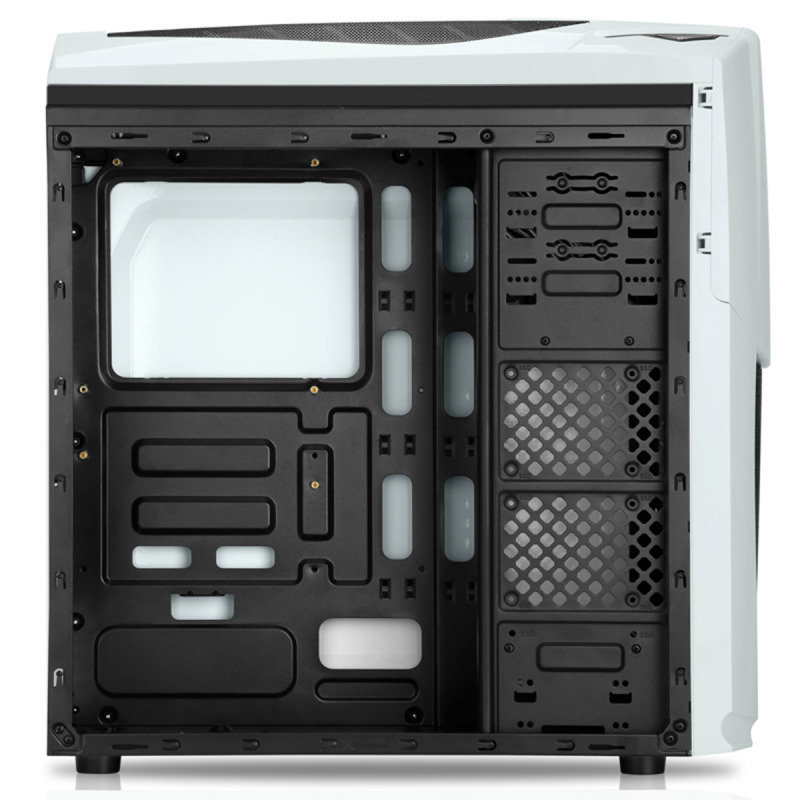 CIT Dragon Midi White Case With 12cm Blue LED Fans & Side Window